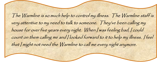 Warmline testimony
