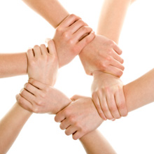 Linked hands - friendship & support