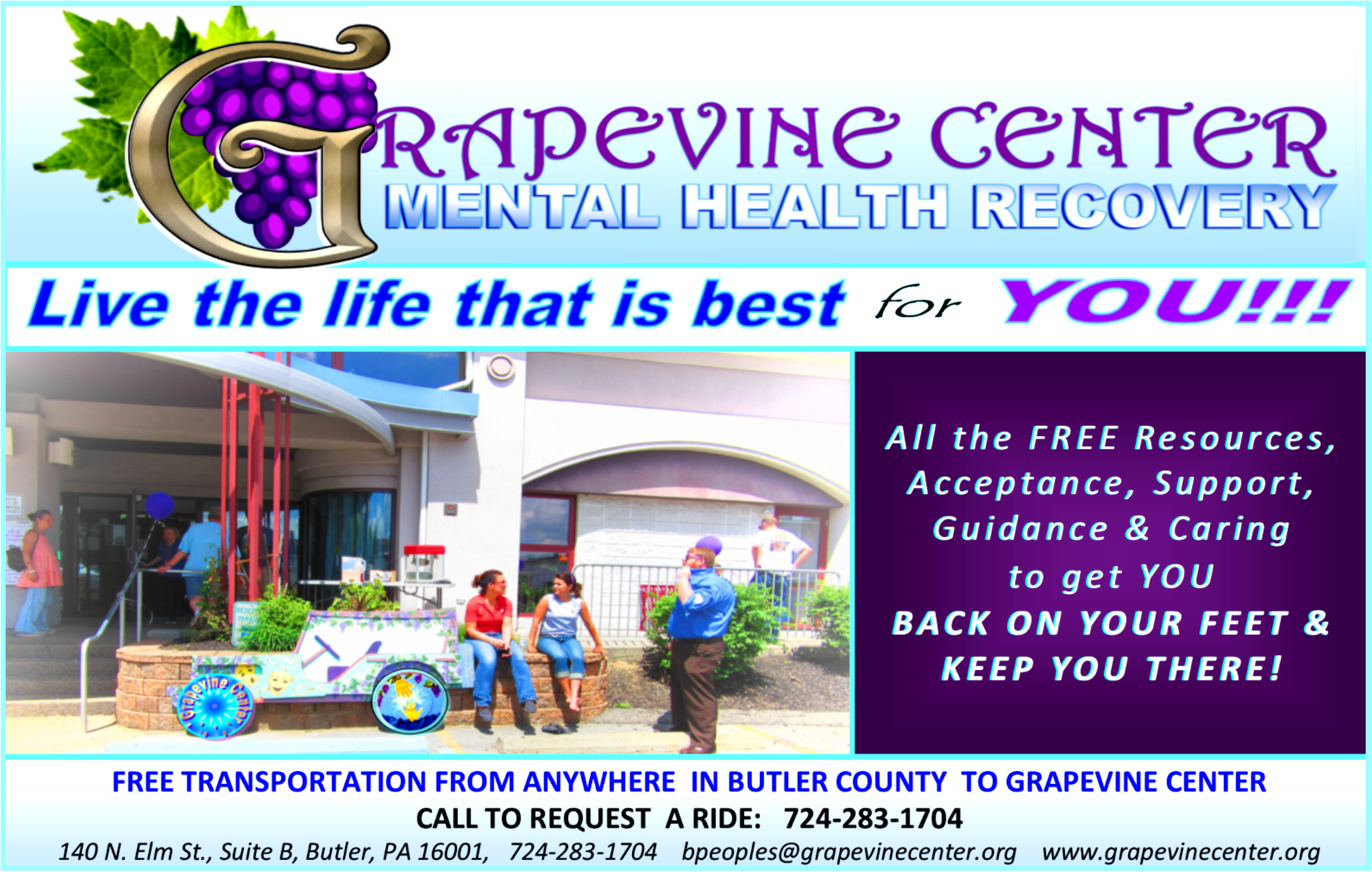 Grapevine Center Ad FREE Transport to Grapevine Center provided